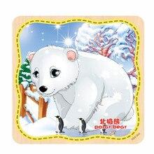 Высокая мода 1 ШТ. Мода Деревянные Белый медведь Головоломки Обучающие Развивающие Baby Дети Обучение Игрушки Бесплатная Доставка