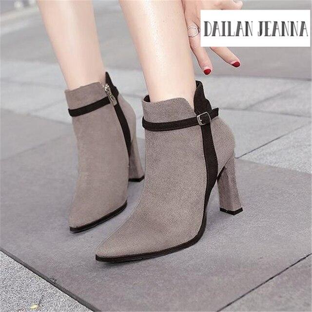 Европейская мода, г-жа обувь популярные высококлассные на высоком каблуке Женские ботинки Мартин хан издание популярные женские короткие сапоги