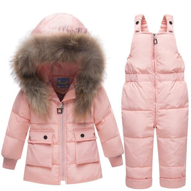 8e504ca84 Crianças de inverno Para Baixo Roupas Definir Capa Da Pele Do Falso do  Revestimento do Revestimento