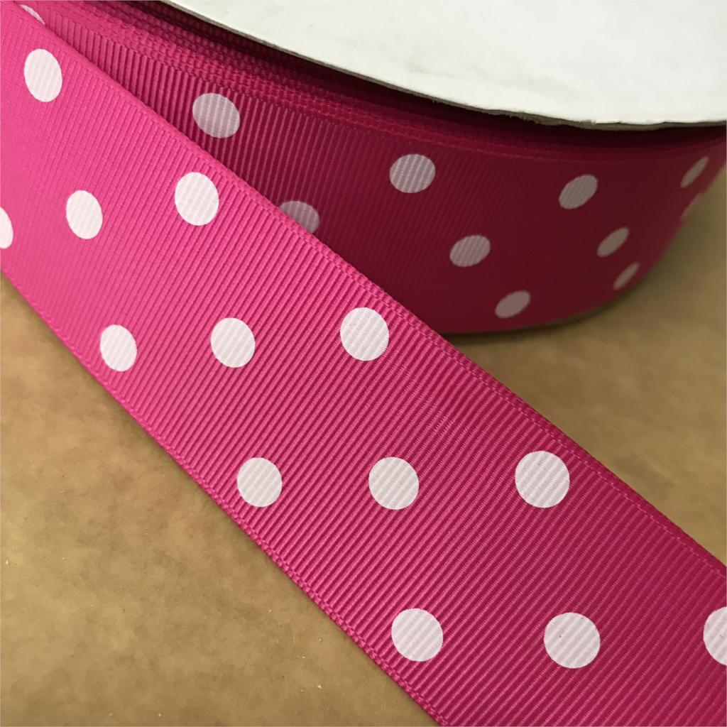 Сумасшедший скидка 1-1/2 «38 мм Шокирующий Розовый 3 белые точки печатных корсажная лента для волос с бантом детские/Детские ремесел 100 ярдов