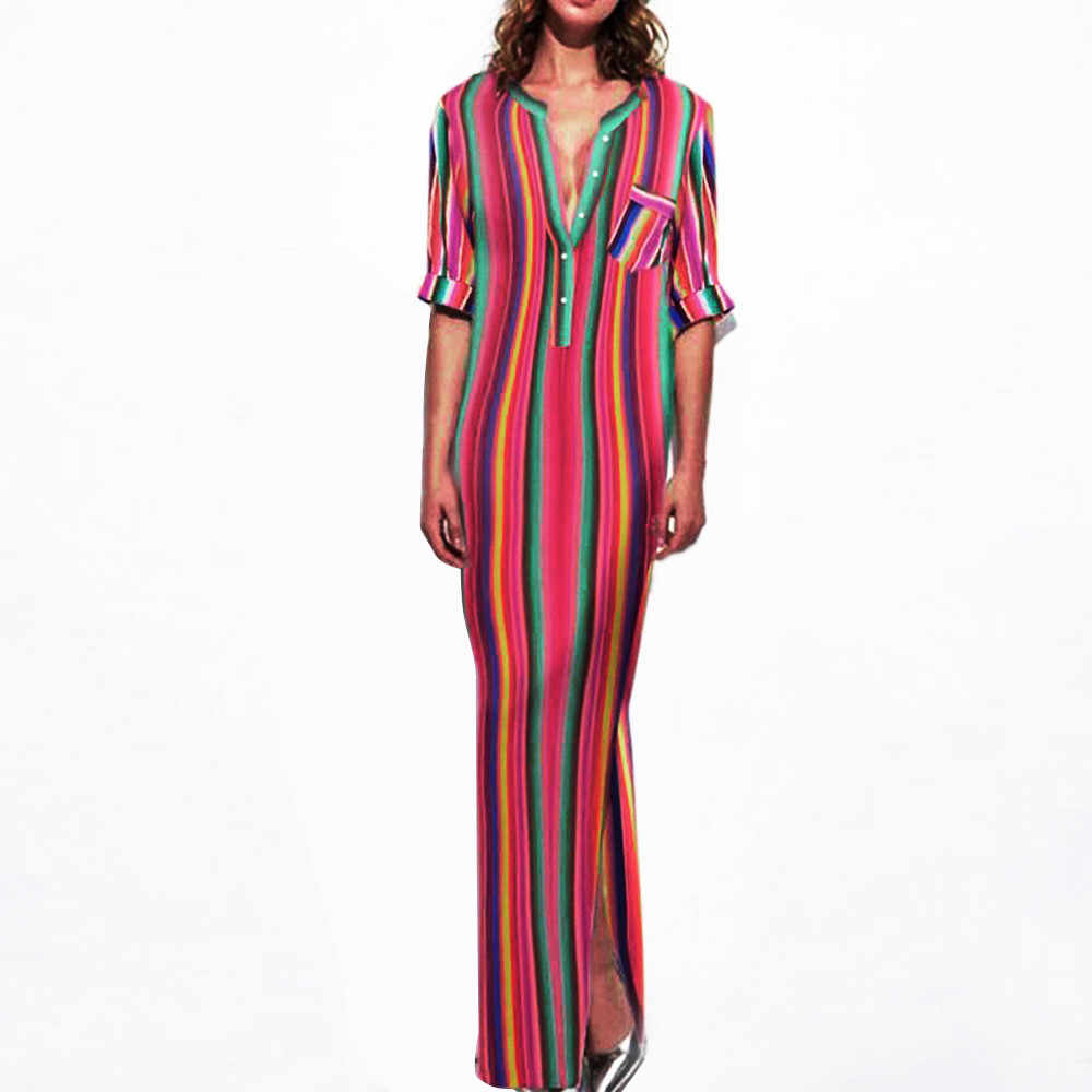 67e5c71553f Multicolor Striped Printed Dresses For Women Fashion V-Neck Half Sleeve Maxi  Long Boho Dress