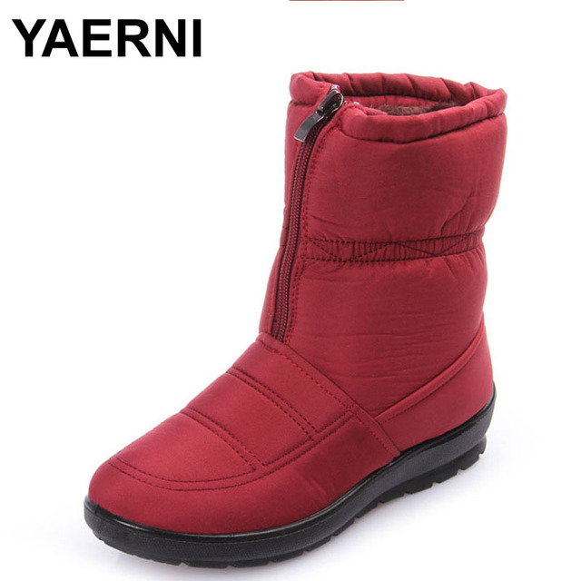 57a4b513a8eb8 YAERNI Snow Boots Winter Brand Warm Non-slip Waterproof Women Boots Mother  Shoes Casual Cotton Winter Autumn Boots Female Shoes
