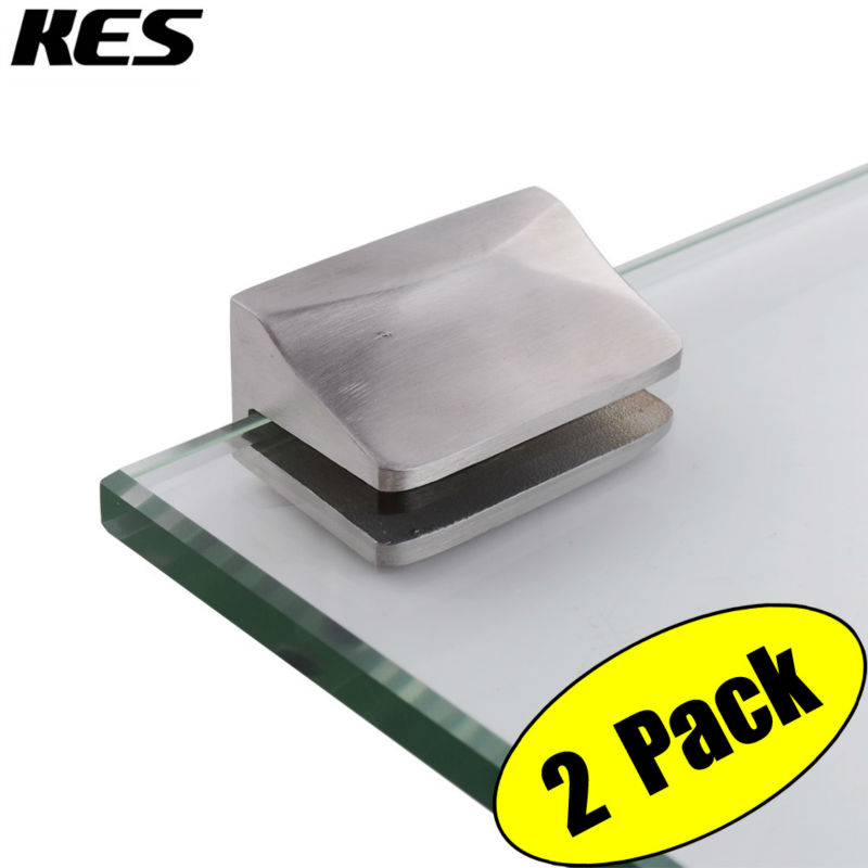kes hsb2002p2 sus304 stainless steel woodenglass shelf bracket wall mount 2 pcs or one pair adjustable brushed finish - Glass Shelf Brackets