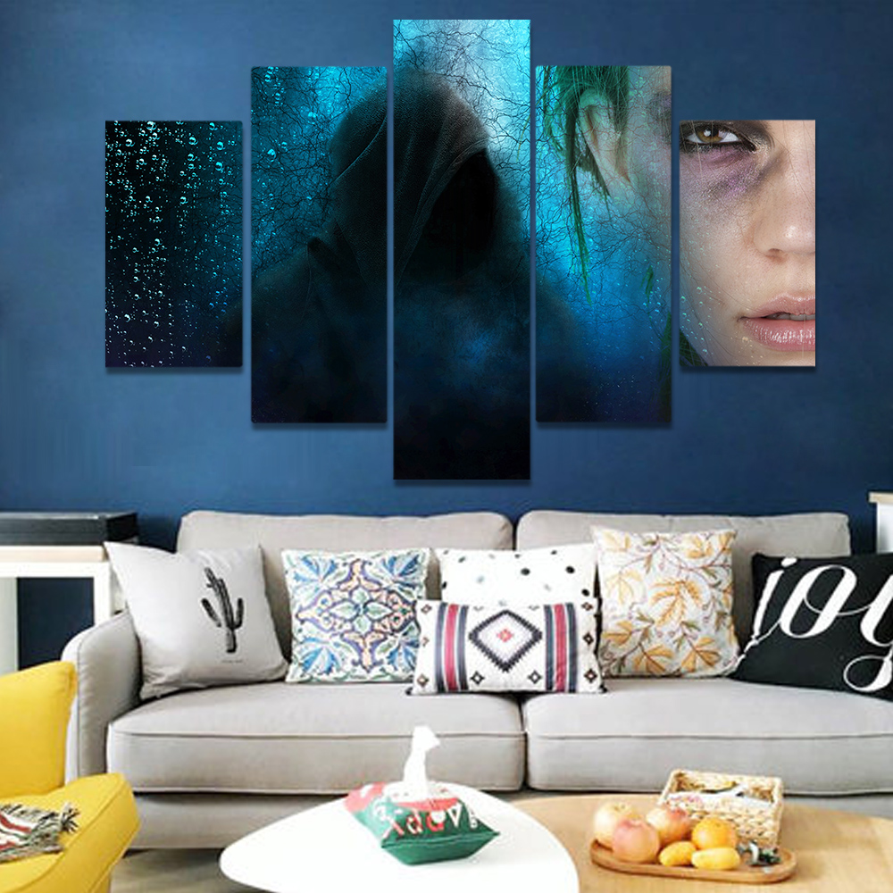 Unframed Canvas Art Painting Black Cloak And Man Dense Vine Picture Prints Wall Picture For Living Room Wall Art Decoration
