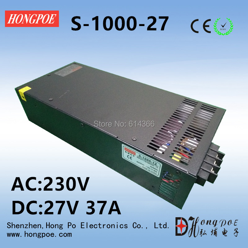 Best quality 27V 37A 1000W Switching Power Supply Driver for CCTV camera LED Strip AC 100-240V Input to DC 27V free shipping best quality 13 8v 58a 800w switching power supply driver for led strip ac 230v input to dc 13 8v free shipping