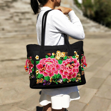 Hot Fashion Embroidery Women Casual Tote!Nice Floral Embroidered Lady Canvas Shoulder&Handbags Versatile Vintage Crossbody Bags