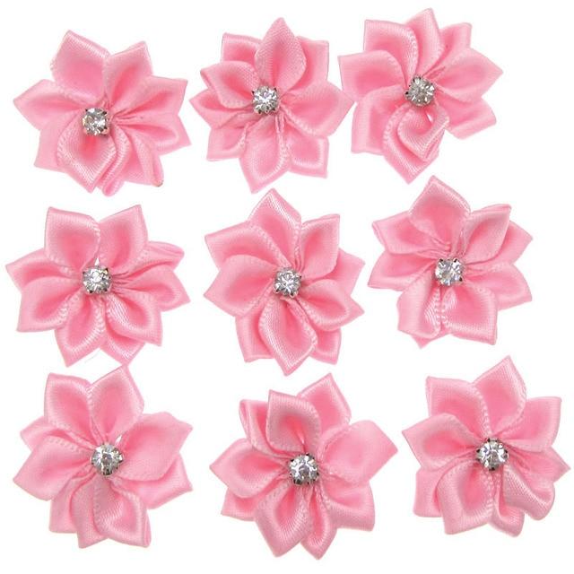 40pcs Handmade Pink Small Satin Flowers Fabric Flower Rhinestone For Craft Wedding Liques Accessories 28mm