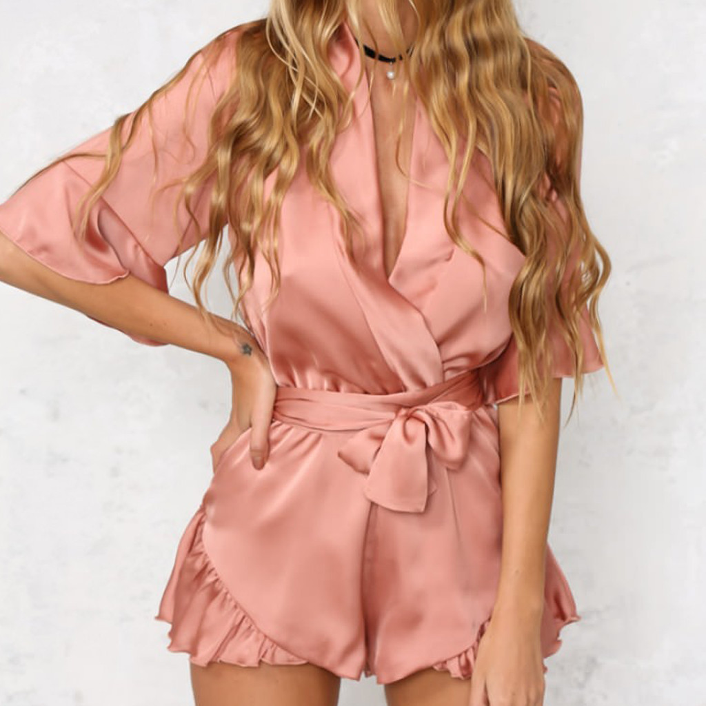 Overalls Rompers Short-Pants Onesies Female Jumpsuit Ruffles-Sleeve Chiffon Women Sexy