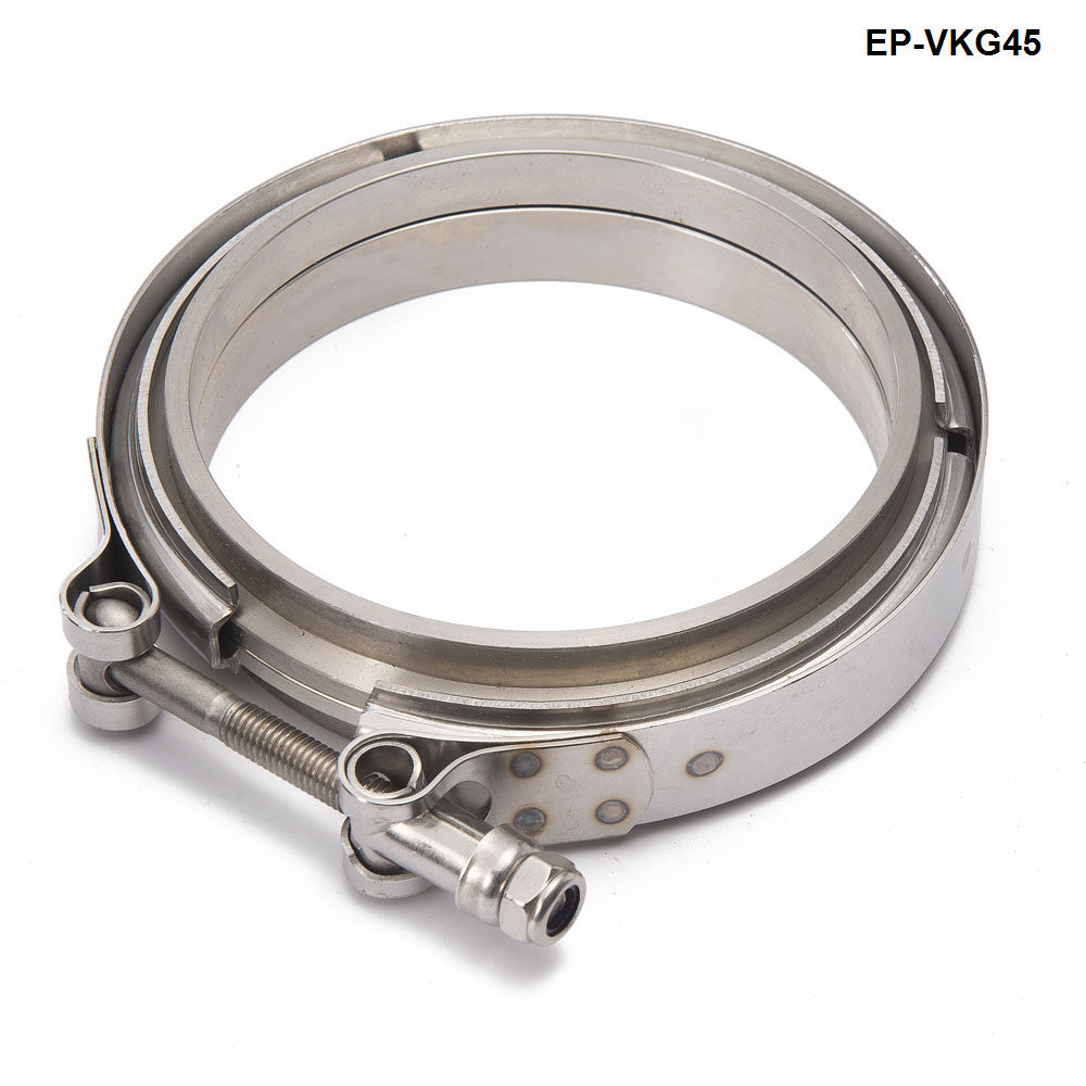 Racing Car T304 Stainless Steel V Band Clamp Flange Assembly For Exhaust Turbo Wastegate  4.5