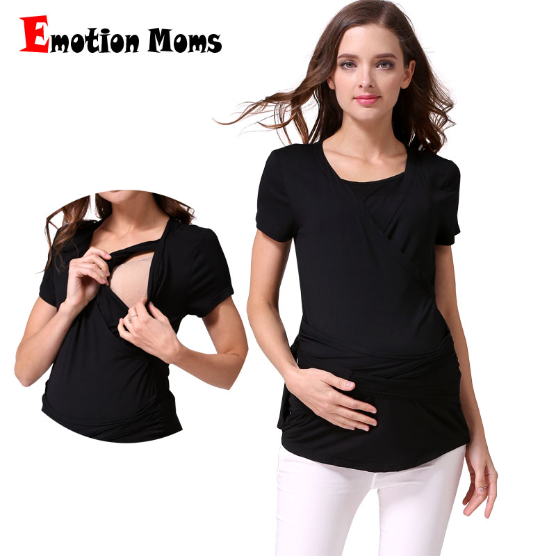 Emotion Moms Short Sleeve Maternity Clothes Breastfeeding Nursing top pregnancy clothes for pregnant women Maternity T-shirt