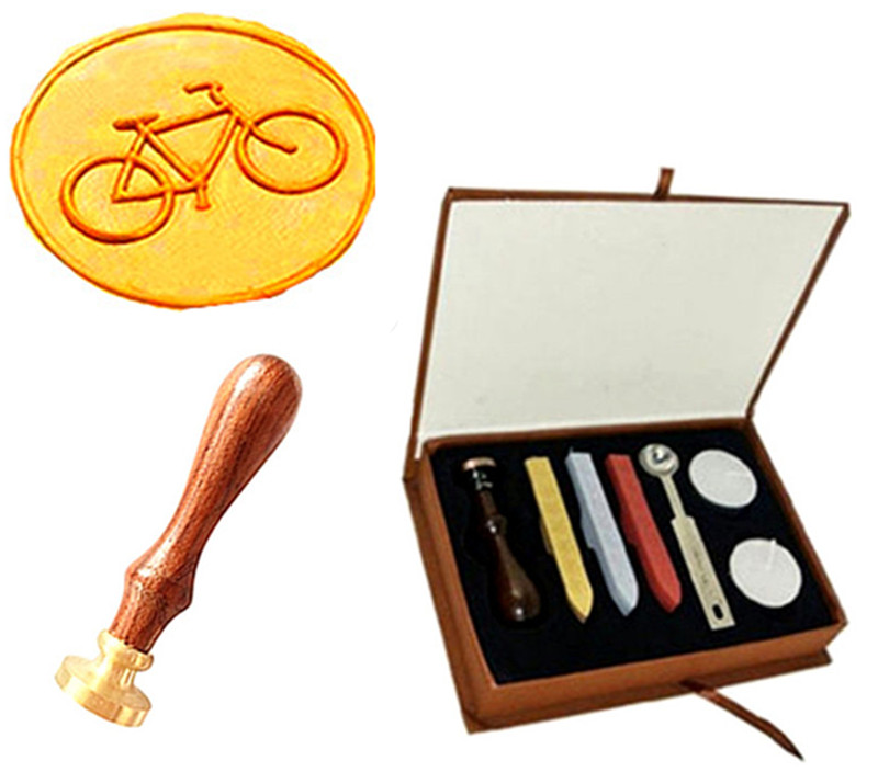 Vintage Bike Custom Logo Picture Wedding Invitation Wax Seal Sealing Stamp Rosewood Handle Sticks Melting Spoon gift Box Set Kit big copper spoon big large size stamp spoon vintage wooden handle brass spoon for sealing wax stamp wax stick spoon