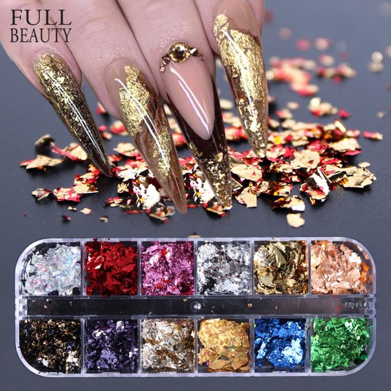 Mirror Glitter Pigment Decoration Paillette Nail-Art Irregular-Flakes 12-Grid Gold Silver