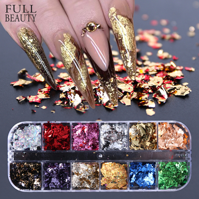 12 Grid Nail Sequins Paillette Aluminum Irregular Flakes Gold Silver Pigment Nail Art