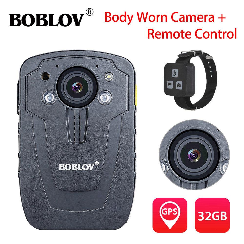 BOBLOV HD31-D HD 1296P 32GB 2.0 Night Vision Body Worn Camera Recorder GPS Night Vision Security Camcorder IP66+Remote Control