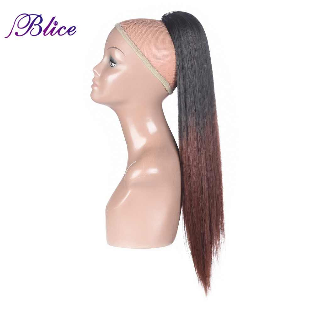 Blice Синтетические прямые хвосты шиньон 18-24 дюймов термостойкие шнурки волосы конский хвост наращивание Omber цвет для женщин