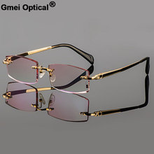 Titanium Eyewear Rimless Gmei Optical Prescription-Glassses Gold Male Diamond Model