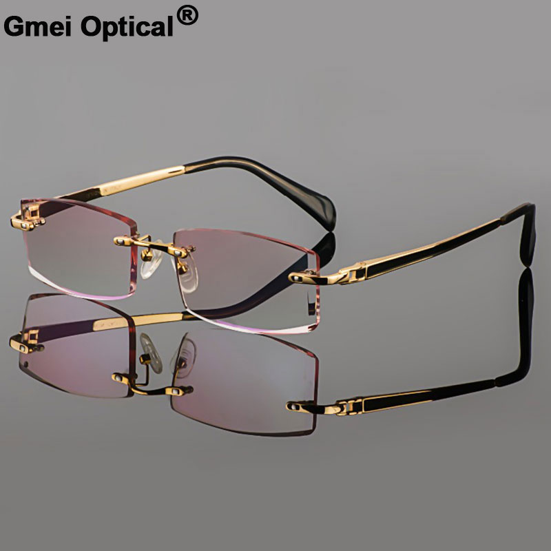 Gmei Optical Phantom Trimming Titanium Eyewear Male Model Diamond Trimming Gold Rimless Finished Prescription Glassses For Men