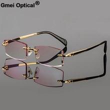 Gmei Optical Phantom trimming titanium eyewear male model diamond trimming Gold rimless finished prescription glassses for Men