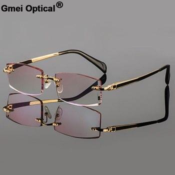 Gmei Optical Phantom trimming titanium eyewear male model diamond Gold rimless finished prescription glassses for Men
