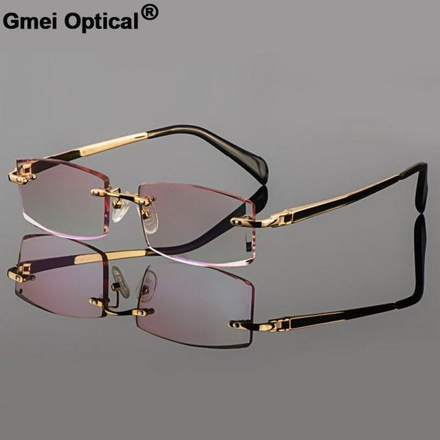 Gmei Quang Phantom cắt tỉa titanium kính nam mô hình kim cương cắt tỉa vàng Không có vành hoàn thành theo toa glassses cho nam Giới