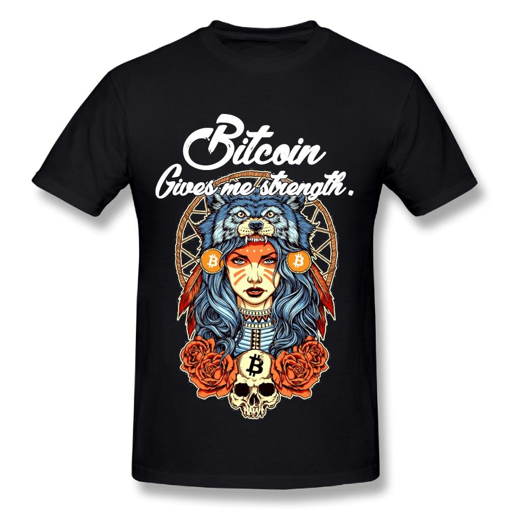 Pure Cotton Male Modern Bitcoin Shaman T-Shirt Custom Cotton Tee Shirts Bitcoin Ripple Ethereum Litecoin