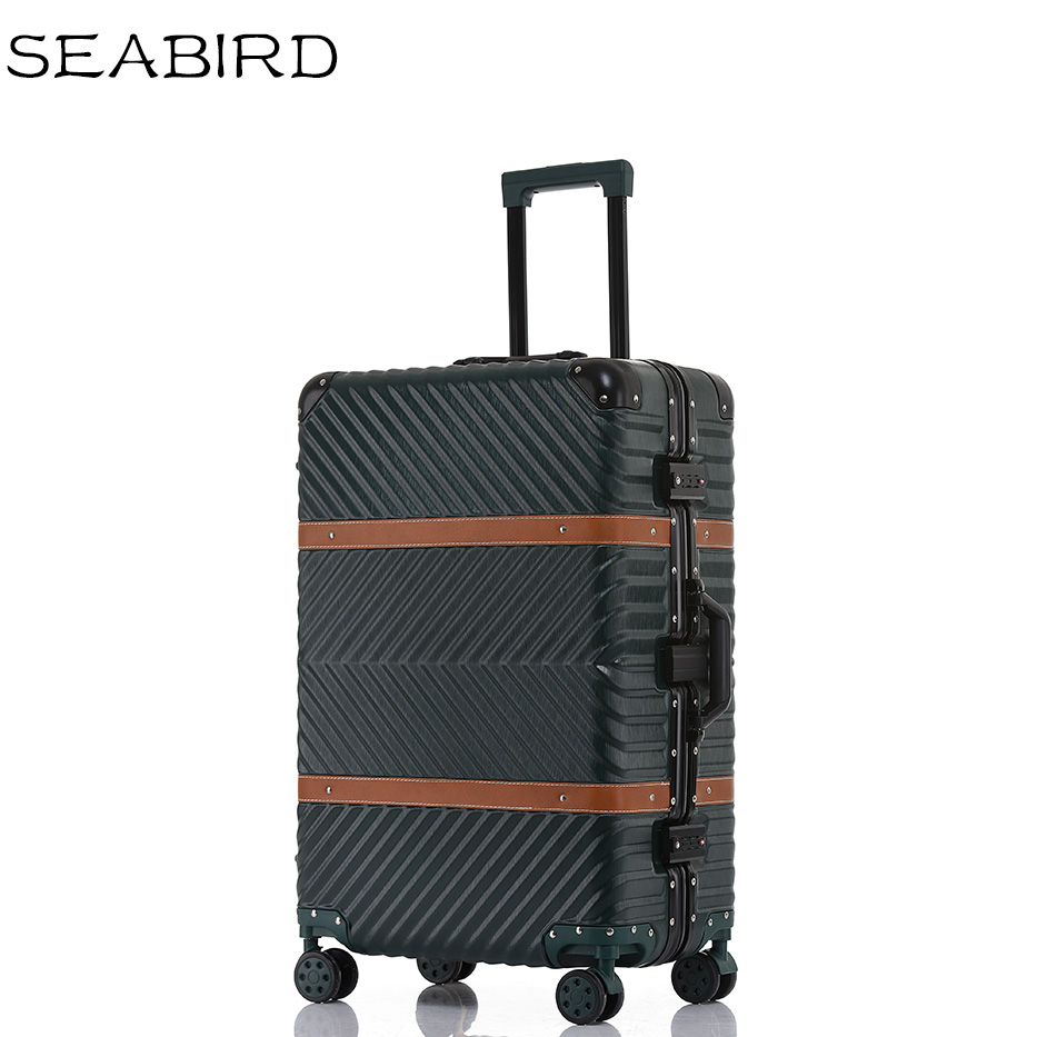 SEABIRD Vintage Travel Suitcase Rolling Luggage Leather Decoration Koffer Trolley TSA Lock Suitcases on wheels Carry on Luggage