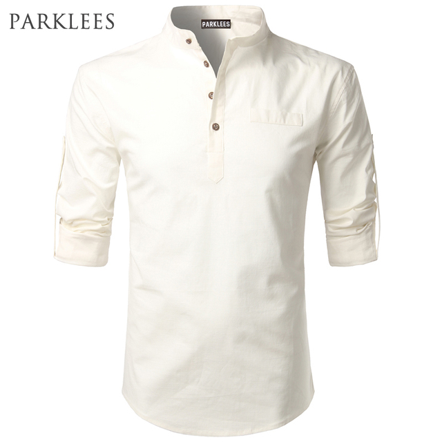Cotton Linen Shirt Men Autumn New Rolled UP Sleeve Mens Dress - Free cloud invoicing big and tall stores online