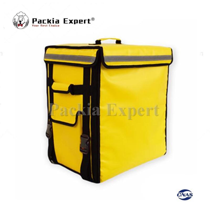 Sac d'isolation de sac à dos de transporteur de nourriture de la couleur jaune 58L 43*35*53 cm, sac de pizza de livraison de paquet de nourriture PEHS433553
