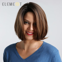 Element 12 inch Synthetic Bob Wig for Women Side Fringe High Density Heat Resistant Hair Wigs Party Daily Wear Natural Headline
