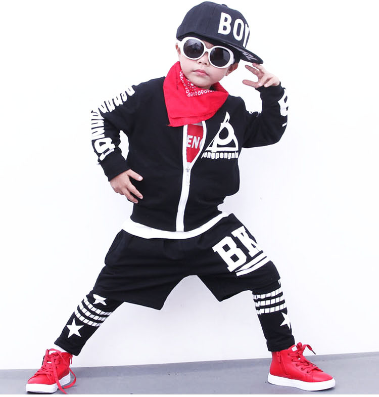 2017 Autumn Winter Children's Clothing Set Costumes Letter Print Kids Sport Suits Hip Hop Dance Pants & Coat Tracksuit men letter print side pants