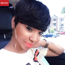 MAYSU Short Human Hair Wigs For Black Women African American Wig Layered Glueless None Lace Human Hair Wigs Free Shipping