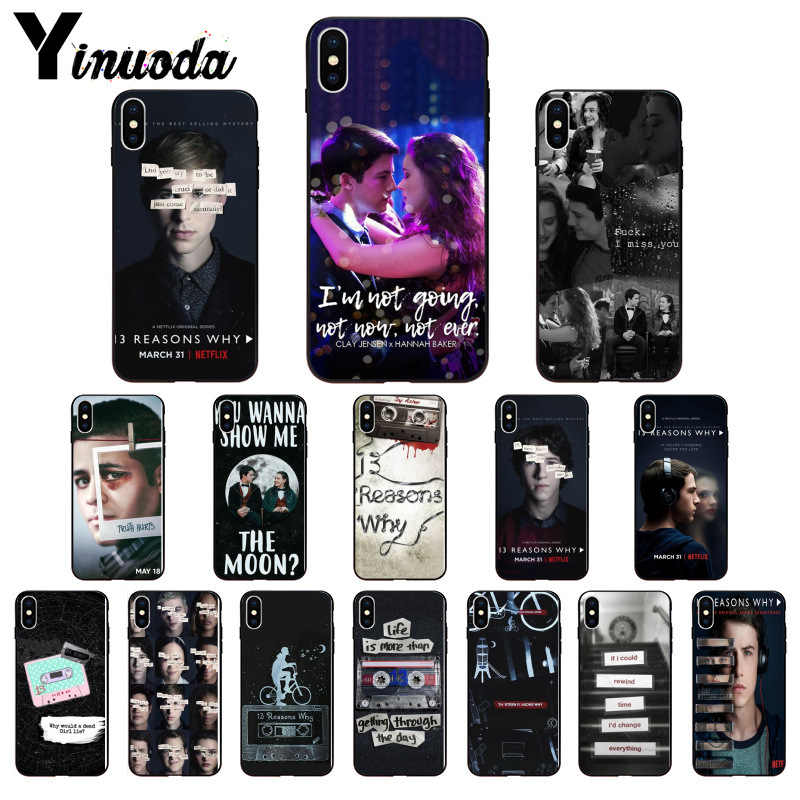 Yinuoda 13 Thirteen Reasons Why Black Soft Phone Cover for iPhone 6S 6plus 7 7plus 8 8Plus X Xs MAX 5 5S XR 11 11pro 11promax