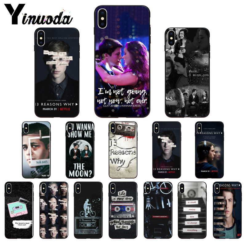 Yinuoda <font><b>13</b></font> Thirteen <font><b>Reasons</b></font> <font><b>Why</b></font> Black Soft <font><b>Phone</b></font> Cover for iPhone 6S 6plus 7 7plus 8 8Plus X Xs MAX 5 5S XR 11 11pro 11promax image