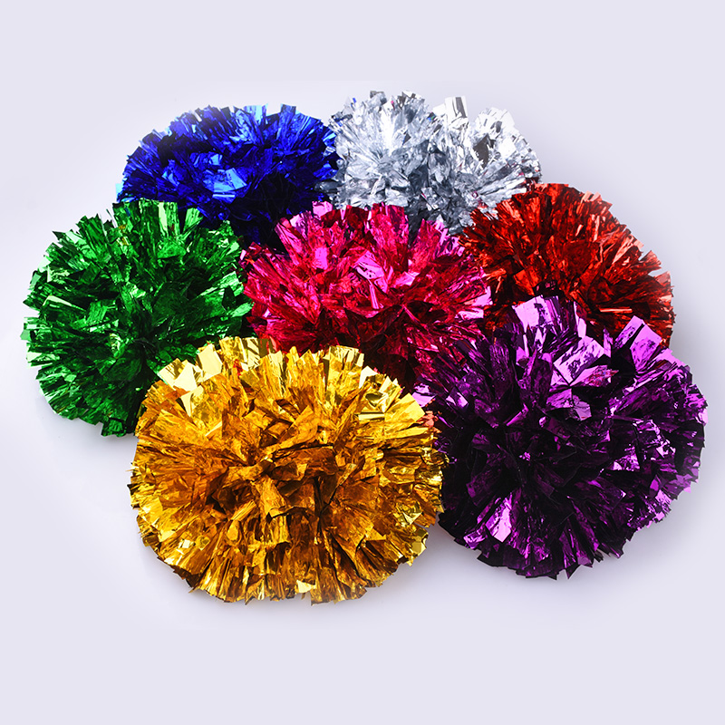 Adult children 80g cheerleader Pompom Cheering pom pom with baton handle Metallic Pom Pom pink green blue gold silver ballroom