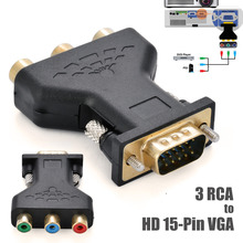 Mayitr RCA VGA Connecter Converter 3 RGB Video Female To HD 15-Pin Style Component Jack Adapter Plug