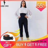 Missord 2019 Sexy high necked long sleeve folds Drawstring jumpsuit FT4902