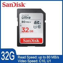 Двойной Флеш-накопитель SanDisk Ultra SD card 8 Гб оперативной памяти, 16 Гб встроенной памяти, 32 ГБ SDHC 64 Гб 128 256 SDXC Class10 Оригинальная карта памяти C10 R80mb/s USH-1 Поддержка для Камера