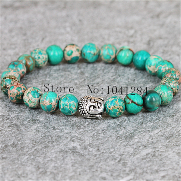 10pcs New Product Men Beaded Bracelet 8mm Beads Natural Green Stone Silver Plated Buddha Head For And Women In Strand Bracelets From Jewelry
