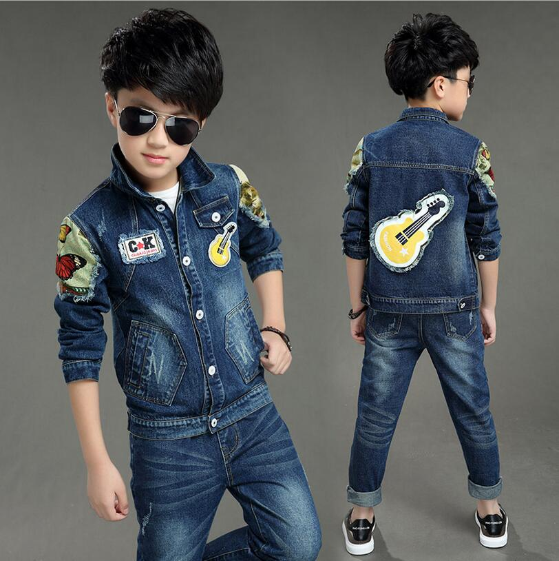 New Kids Clothes Autumn Ensemble Garcon Long Sleeved Fashion Denim Coats Pants Print Christmas Costumes Boys Clothing Set