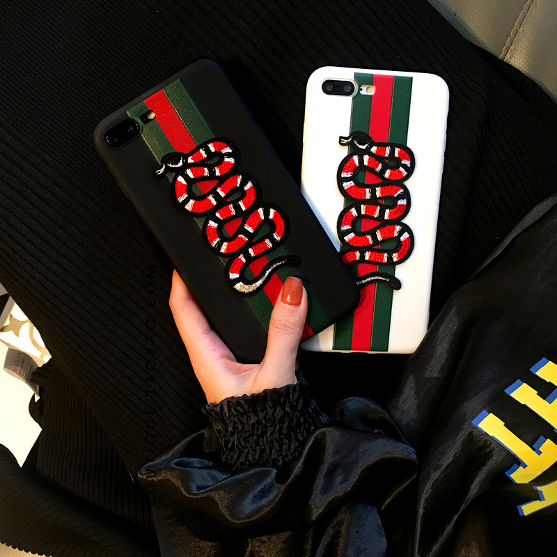 Soft Luxury Embroidere Bee Tiger Snake Brand Case For Iphone X 6 6S 7 8 Plus