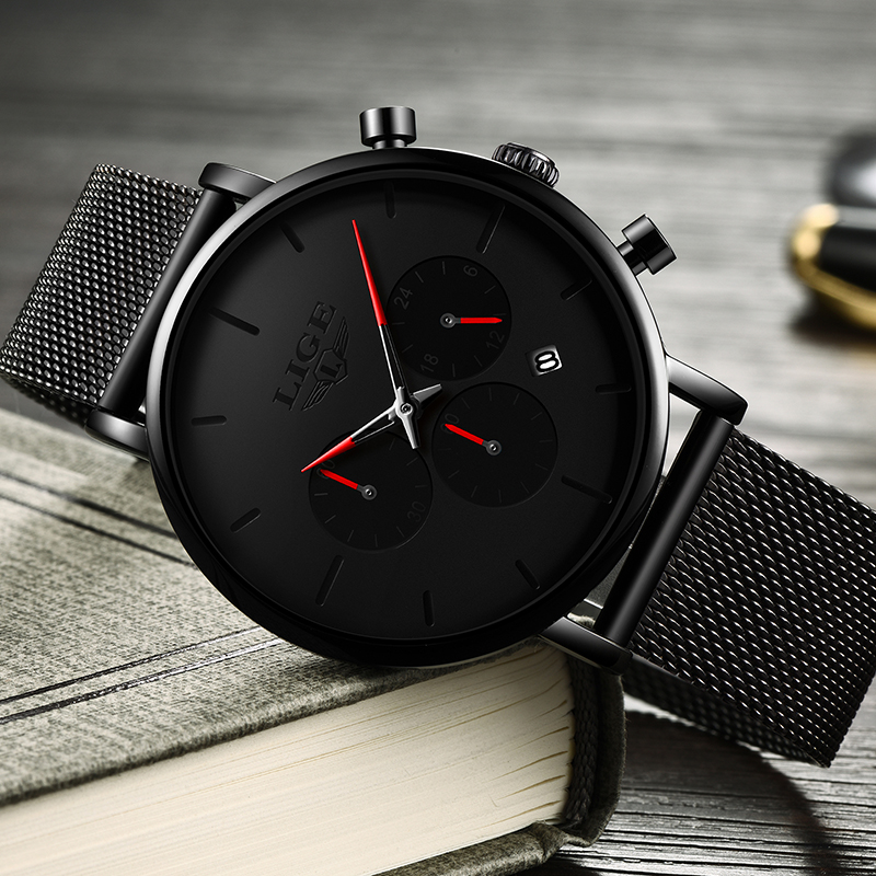 LIGE Mens Business Dress Watches Luxury Casual Waterproof Sport Watch Men Creative Dial Quartz Slim Mesh Watch Relogio Masculino