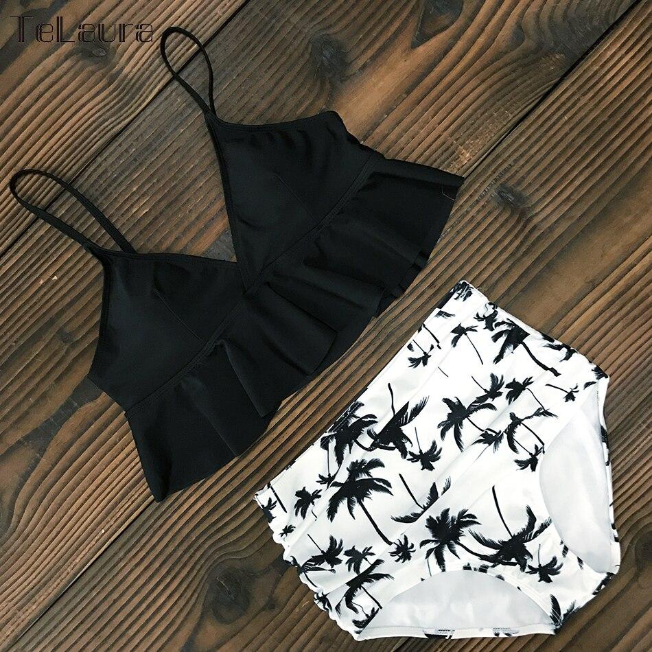 HTB1LjsIVwHqK1RjSZFgq6y7JXXak 2019 New Sexy High Waist Bikini Swimwear Women Swimsuit Push Up Ruffle Bathing Suit Biquini Plus Size Swimwear Female Beach Wear