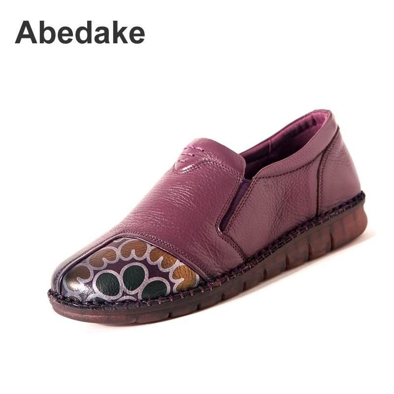 Purple Antidérapant 2018 7718 Appartements Cuir Printemps En Marque Mère  Doux Chaussures Véritable Plates Main Abedake Casual Confort Femmes  UwSxAqFWa 34927a3b6a66