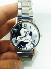 real photo 100% reloj mujer New Mickey Mouse Brand Women Watch Men Fashion Stainless Steel Mesh Watches Casual Quartz