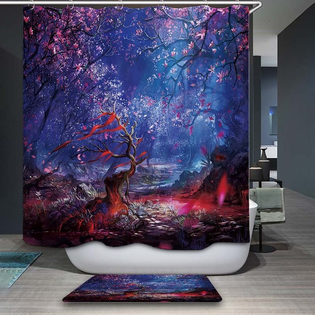 decorUhome Polyester Waterproof Oil Painting Island Scenic Shower ...