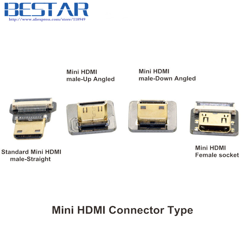 CYFPV Mini HDMI Type C Female-socket & male-Straight & male-Up & male-Down Connector voor FPV HDTV Multicopter Luchtfotografie