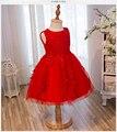 De Calidad superior Rojo de La Boda Vestido de Primera Comunión Vestidos de Cumpleaños de Los Niños de Tul de Encaje Infant Toddler Desfile Vestidos de Niña