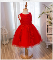 Top Quality Girl Red Wedding Dress First Communion Dresses Kids Birthday Tulle Lace Infant Toddler Pageant Flower Girl Dresses