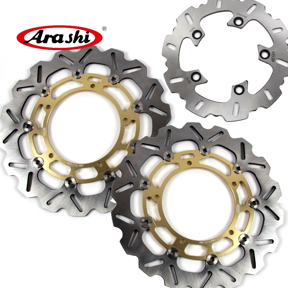 ARASHI For YAMAHA YZF R1 2007-2011 CNC Front Rear Brake Rotors Brake Disc YZF-R1 2007 2008 2009 2010 2011 YZF-R6 2005-2015 R6 R1 motocross dirt bike enduro off road wheel rim spoke shrouds skins covers for yamaha yzf r6 2005 2006 2007 2008 2009 2010 2011 20