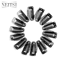 Neitsi 3.8cm 50pcs/pack I Shape Clips Stainless Steel Hair Snap for Feather Clip In Extensions Wigs Weft 5 Colors